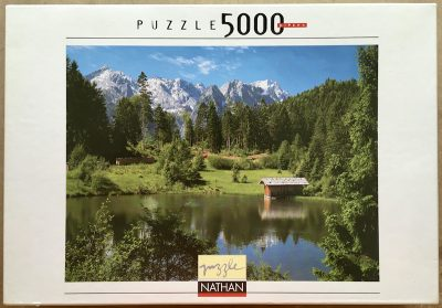Image of the puzzle 5000, Nathan, Chalet by the Lake, by Bildagentur Huber, Sealed Bag, Picture of the box