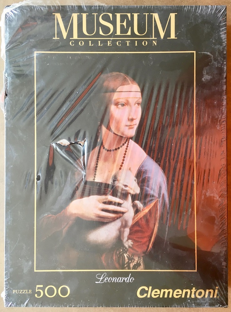 Image of the puzzle 500, Clementoni, Lady with an Ermine, by Leonardo da Vinci, Factory Sealed, Picture of the box
