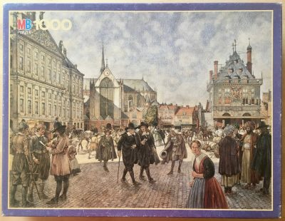 Image of the puzzle 1000, MB, The Dam at Amsterdam 1666, by Johan Herman Isings, Complete, Picture of the box