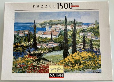 Image of the puzzle 1500, Nathan, Village in the Spring, by Renée Théobald, Sealed Bag, Picture of the box
