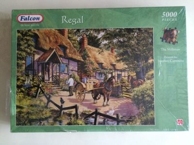 Image of the puzzle 5000, Falcon, The Milkman, by Stephen Cummins, Factory Sealed, Picture of the box