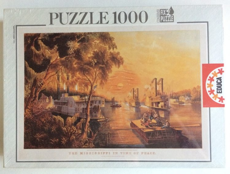 Image of the puzzle 1000, Educa, The Mississippi in Time of Peace, by Currier & Ives, Factory Sealed