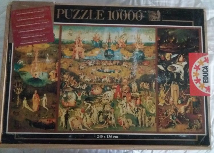 Image of the puzzle 10000, Educa, The Garden of Earthly Delights, Hieronymus Bosch, Sealed Bag, Picture of the box