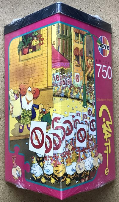 Image of the puzzle 750, Heye, Chickens Protest, by Matt Pritchett, Factory Sealed