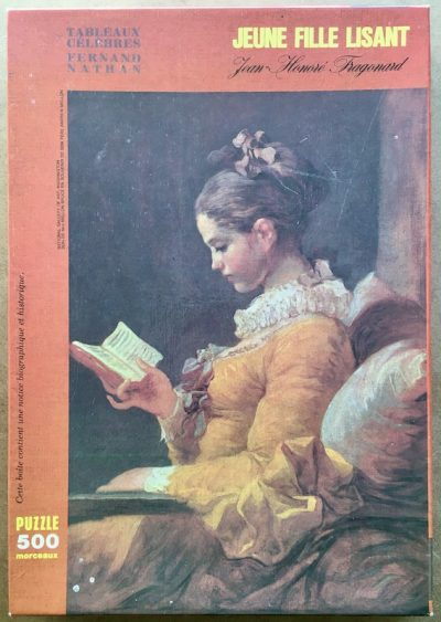Image of the puzzle 500, Nathan, Young Girl Reading, by Fragonard, Complete, Picture of the box