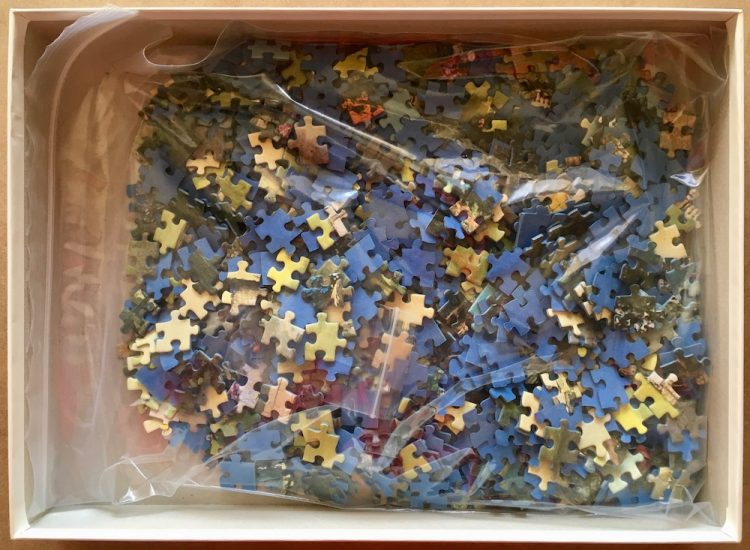 Image of the puzzle 1000, Ravensburger, Idyllic Park, by Wolfgang Scheit, Complete, Picture of the bag