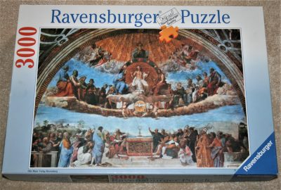 Image of the puzzle 3000, Ravensburger, Fresco of the Triumph of Religion, by Raphael, Complete, Picture of the box