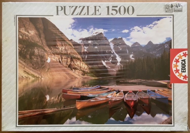 Image of the puzzle 1500, Educa, Moraine Lake, Alberta, Canada, Factory Sealed, Picture of the box