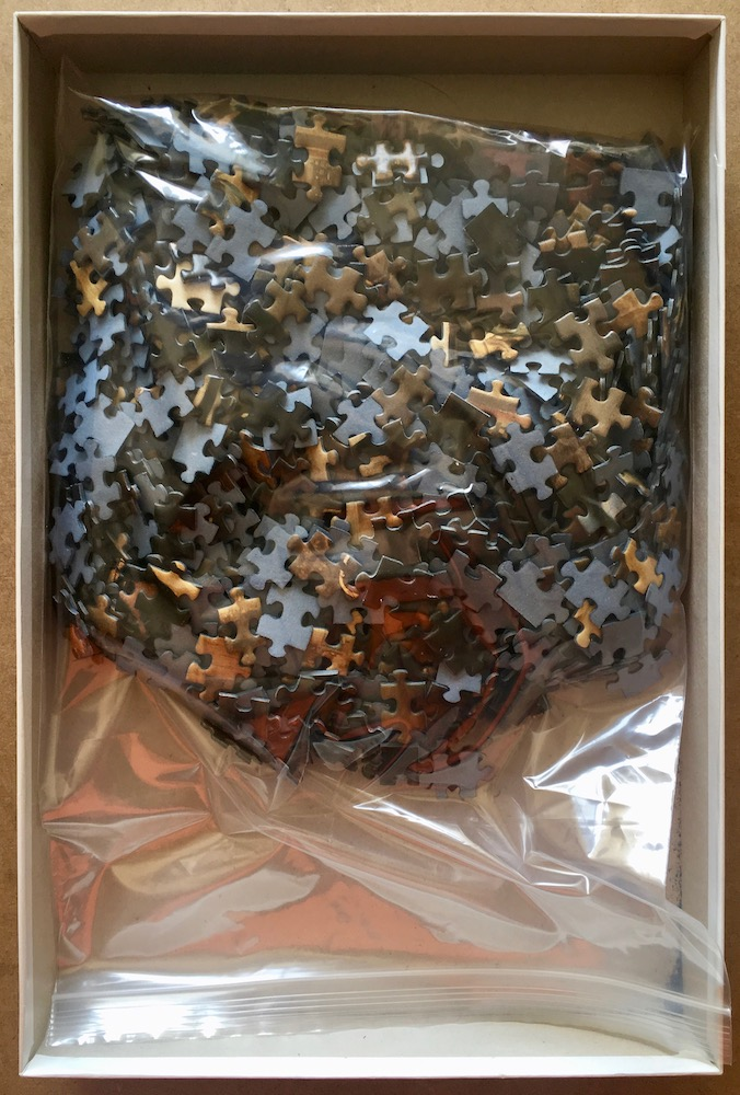 Image of the puzzle 1000, Piatnik, The Art of Painting, by Johannes Vermeer, Complete, Picture of the bag
