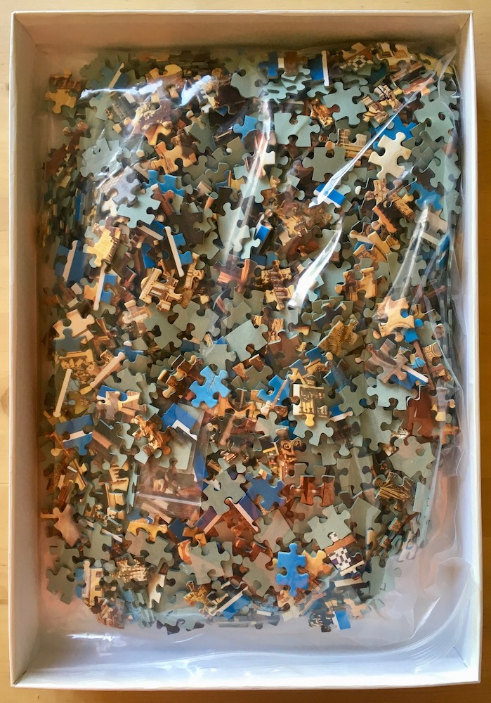 Image of the puzzle 1500, Jumbo, Sides of Barcelona, by Gustav Brauer, Complete, Picture of the bag