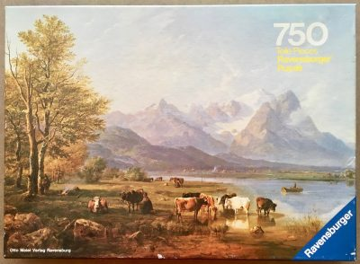Image of the puzzle 750, Ravensburger, In a Garmisch Valley, by Heinrich Bürkel, Complete, Picture of the box
