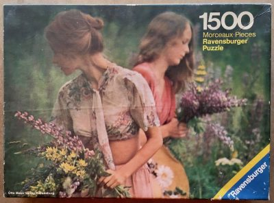 Image of the puzzle 1500, Ravensburger, Picking Flowers, by David Hamilton, Complete, Picture of the box