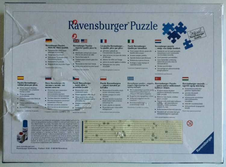 Image of the puzzle 1500, Ravensburger, Manhattan Skyline, Factory Sealed, Picture of the back
