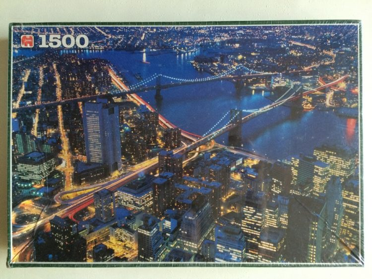 Image of the puzzle 1500, Jumbo, New York Lights, Factory Sealed, Picture of the box