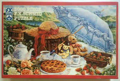 Image of the puzzle 3000, F.X. Schmid, Blue Parasol, by Janet Kruskamp, Factory Sealed, Picture of the box