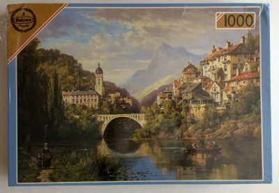 Image of the puzzle 1000, Falcon, A River View in Alsace, by Charles Kuwasseg, Factory Sealed, Picture of the box