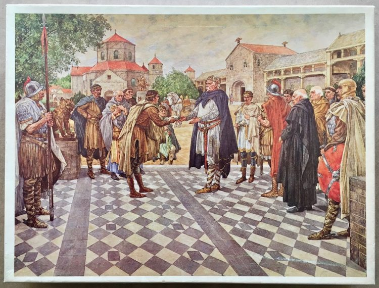 Image of the puzzle 1200, De Vuurbaak, Charlemagne in Aachen, 808, by Isings, Complete, Picture of the box