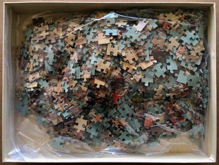 Image of the puzzle 1200, De Vuurbaak, Charlemagne in Aachen, 808, by Isings, Complete, Picture of the bag
