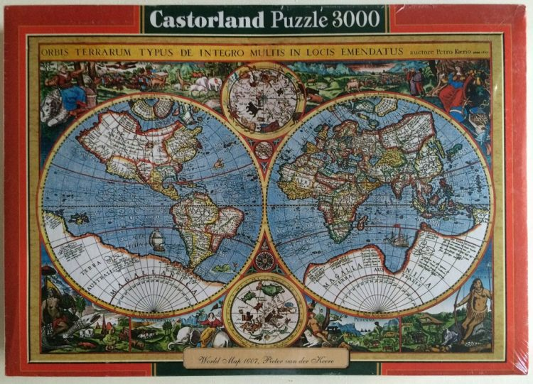 Image of the puzzle 3000, Castorland, World Map 1607, by Pieter van den Keere, Factory Sealed, Picture of the box
