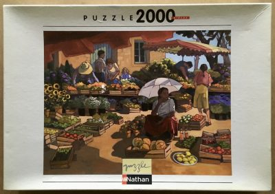 Image of the puzzle 2000, Nathan, Women at the Market, by Lorraine Jordan, Sealed Bag, Picture of the box