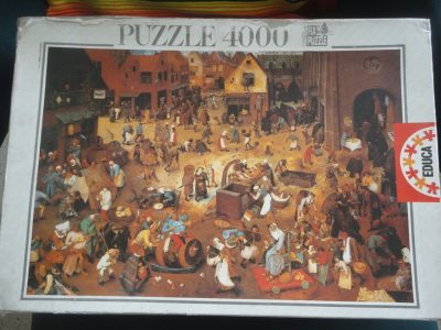 Image of the puzzle 4000, Educa, The Fight Between Carnival and Lent, by Pieter Bruegel the Elder, Factory Sealed, Picture of the box