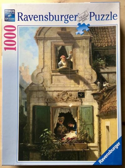 Image of the puzzle Puzzle 1000, Ravensburger, The Intercepted Love Letter, by Carl Spitzweg, Complete, Picture of the box