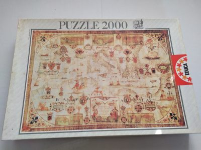 Image of the puzzle 2000, Educa, Mediterranean Sea 1664, Sealed Bag, Picture of the box