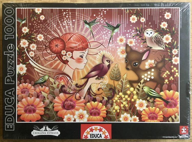 Image of the puzzle 1000, Educa, Purple Bird, by Catalina Estrada. Factory Sealed