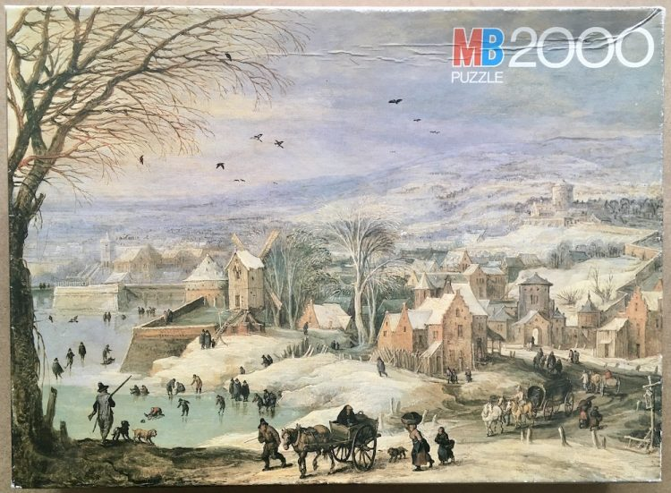 Image of the puzzle 2000, MB, Winter Landscape, by Brueghel & De Momper, Complete, Picture of the box