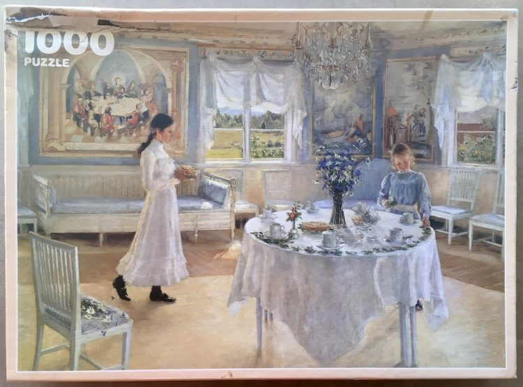Image of the puzzle 1000, Ravensburger, Name Day, by Fanny Brate, Complete, Picture of the box