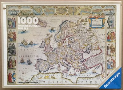 Image of the puzzle 1000, Ravensburger, Map of Europe in the Year 1663, by Willem Blaeu, Complete, Picture of the box