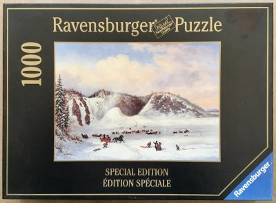Image of the puzzle 1000, Ravensburger, The Montmorency Falls, by Cornelius Krieghoff, Complete, Picture of the box