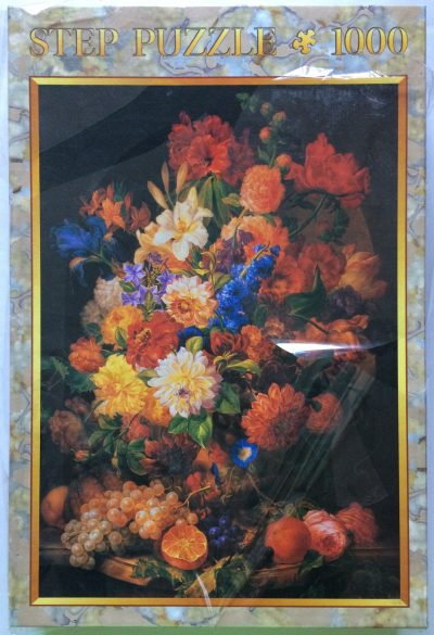 Image of the puzzle 1000, Step, Bouquet of Flowers on a Marble Balustrade, by Joseph Nigg, Factory Sealed, Picture of the box