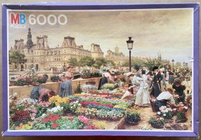 Image of the puzzle 6000, MB, Paris, The Flower Market in 1895, François-Marie Firmin-Girard, Sealed Bag, Picture of the box