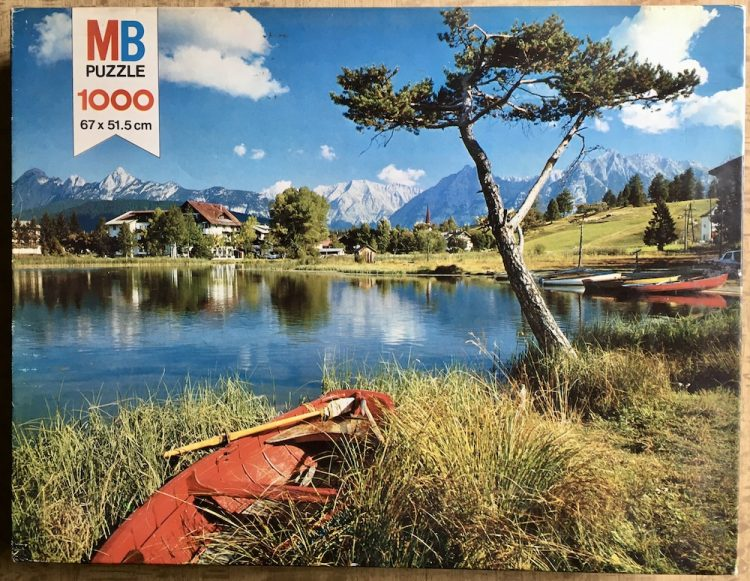 Image of the puzzle 1000, MB, Seefeld, Tirol, Complete, Picture of the box