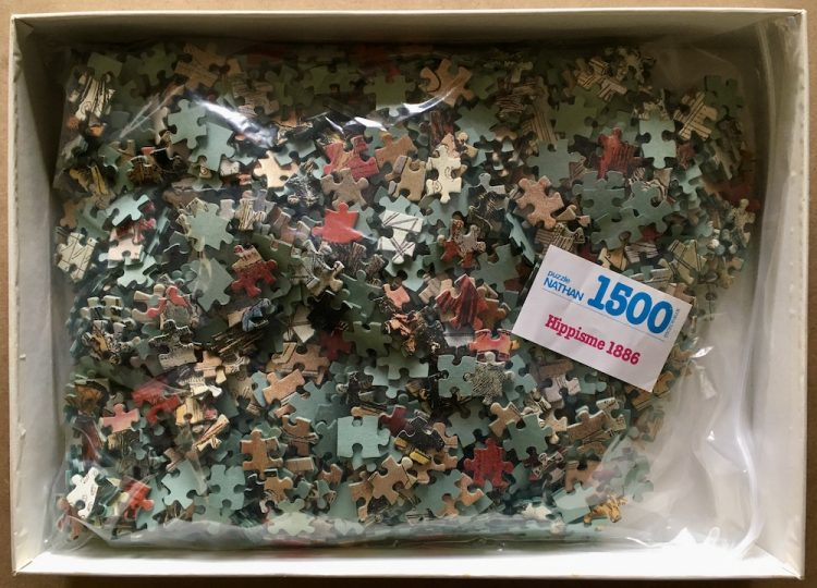 Image of the puzzle 1000, Nathan, Horse Racing in 1886, by Adrien Marie, Complete, Picture of the bag