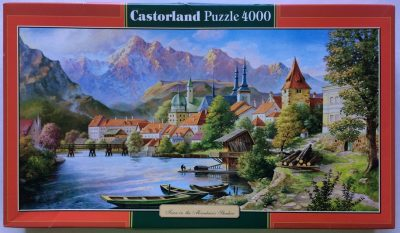Image of the puzzle 4000, Castorland, Town in the Mountain's Shadow, Sealed Bag, Picture of the box