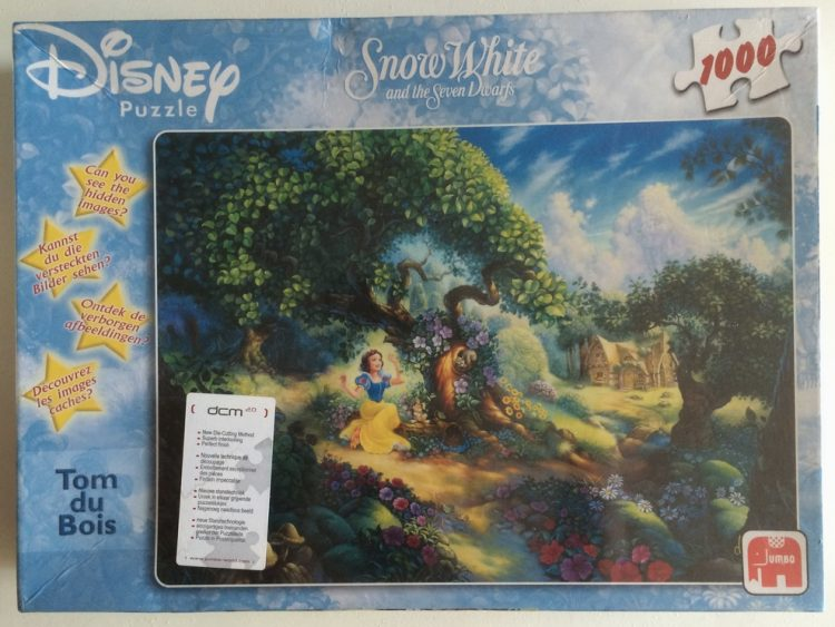Image of the puzzle 1000, Jumbo, Snow White and the Seven Dwarfs, by Tom duBois, Factory Sealed, Picture of the box