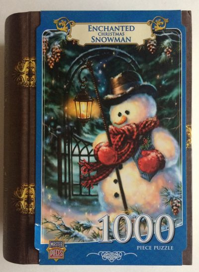 Image of the puzzle 1000, Master Pieces, Enchanted Christmas Snowman, by Dona Gelsinger, Sealed Bag, Picture of the box