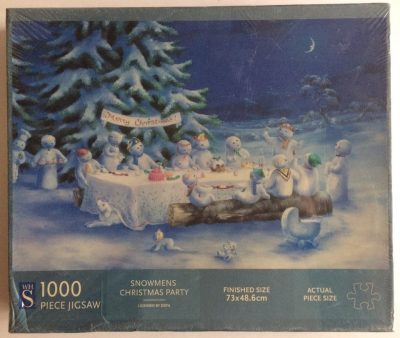 Image of the puzzle 1000, WHSmith, Snowmens Christmas Party, by Lesley Hammett, Factory Sealed, Picture of the box