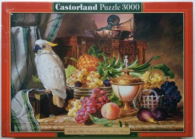Image of the puzzle 3000, Castorland, Still Life with Fruit and a Cockatoo, by Josef Schuster, Factory Sealed, Picture of the box
