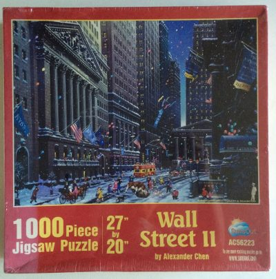 Image of the puzzzle 1000, Sunsout, Wall Street, by Alexander Chen, Factory Sealed, Picture of the box
