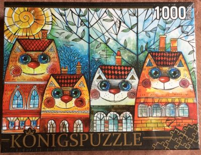 Image of the puzzle 1000, Königspuzzle, Cats-Houses, by Oxana Zaika, Factory Sealed