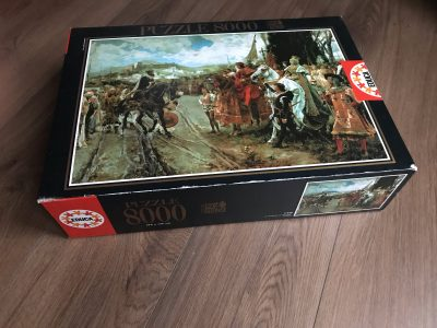 Image of the puzzle 8000, Educa, The Capitulation of Granada, by Francisco Pradilla, Sealed Bag, Picture of the box