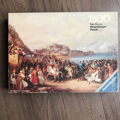 Image o the puzzle 1500, Ravensburger, Arrival of King Otto at Nauplia, by Peter von Hess, Complete, Picture of the box