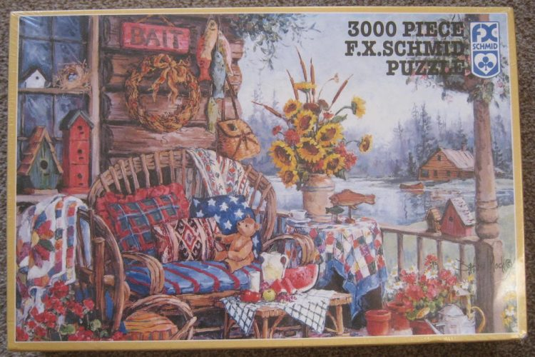 Image of the puzzle 3000, F.X. Schmid, Country Hideaway, by Barbara Mock, Factory Sealed, Picture of the box