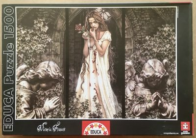 Image of the puzzle 1500, Educa, Guardian Angel Triptych, by Victoria Francés, Sealed Bag, Picture of the box