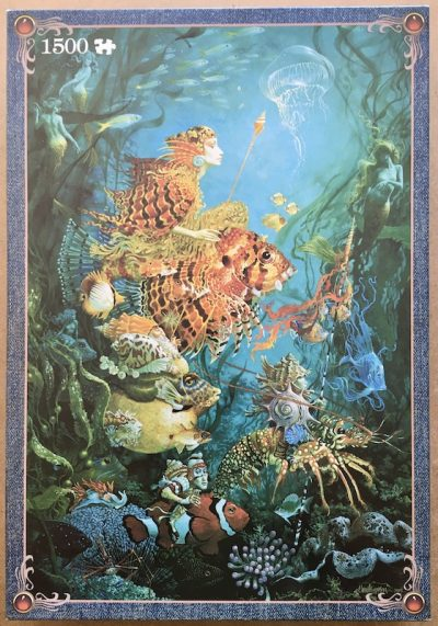 Image of the puzzle 1500, Jumbo, Fantasies of the Sea, by James Christensen, Sealed Bag, Picture of the box