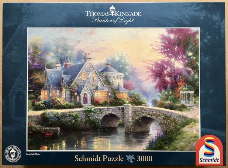 Image of the puzzle 3000, Schmidt, Lamplight Manor, by Thomas Kinkade, Sealed Bag, Picture of the box