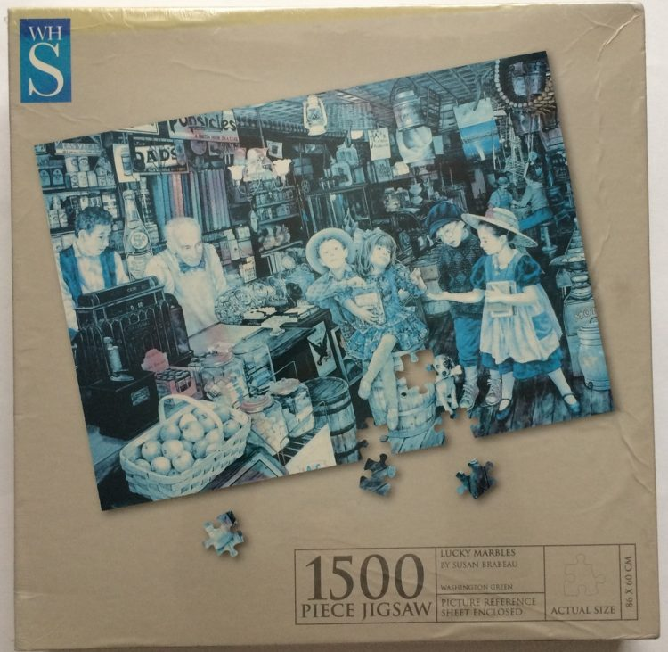 Image of the puzzle 1500, WHSmith, Lucky Marbles, by Susan Brabeau, Factory Sealed, Picture of the box
